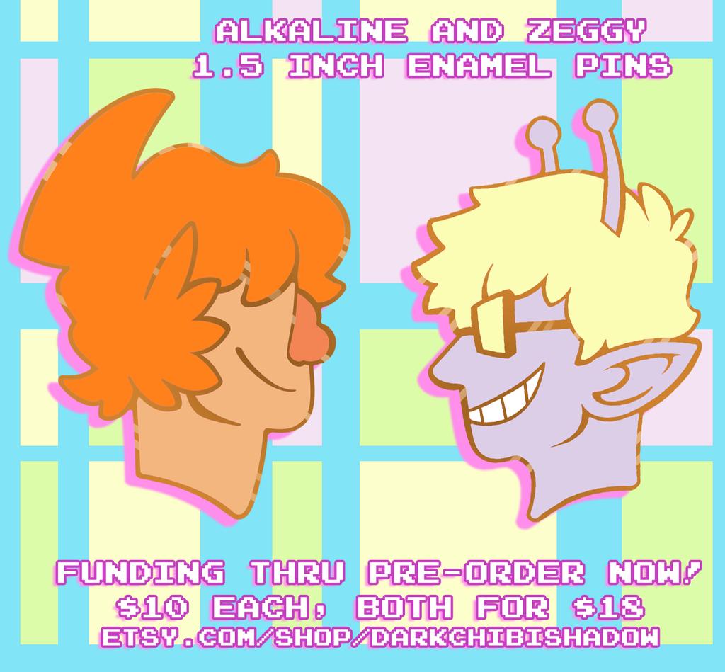 Alkaline and Zeggy - Enamel Pins