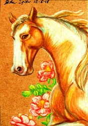 ACEO--Golden Champagne Paint Portrait