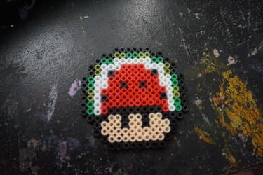 watermelon mario mushroom perler