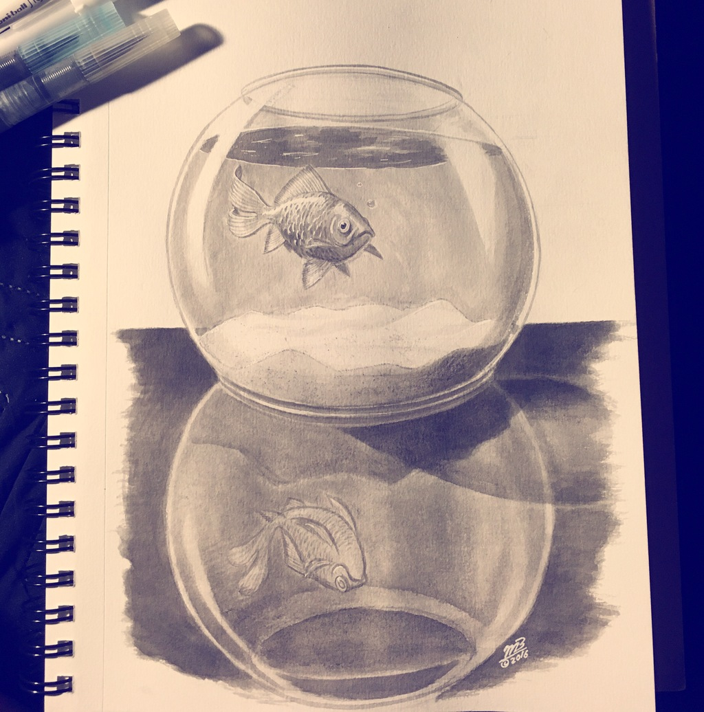 Inktober 2016 #8: Fishbowl