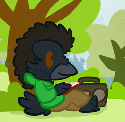 An Afroed, chilling Raven fellow.