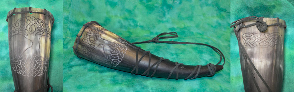 Carved Viking Horn - Tree of Life