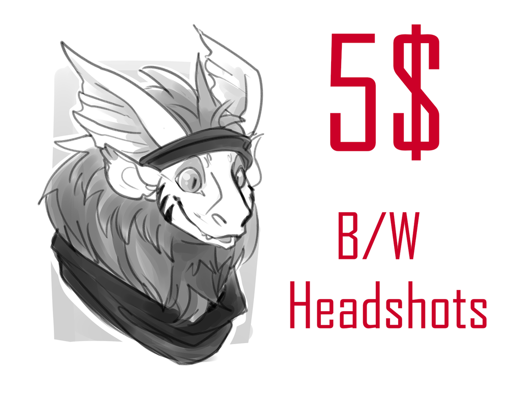 5$ b/w sketch headshots