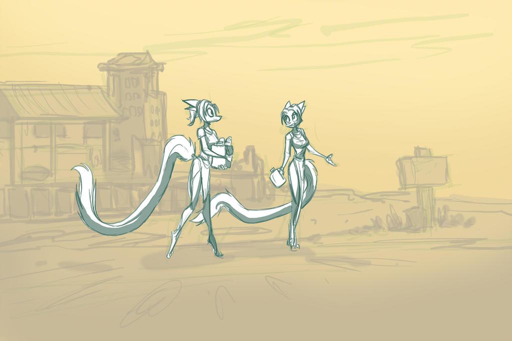 Indigo Stroll Sketch