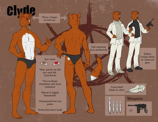 Clyde's First Ref Sheet (Sepia-Toned)