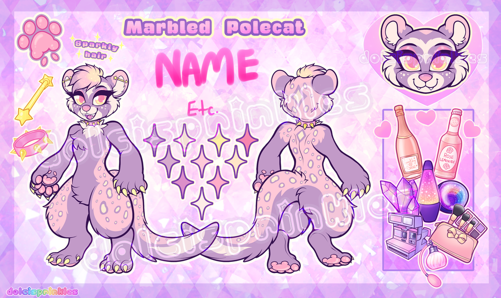 ✨ Auction CLOSED : Sparkly Marbled Polecat ✨