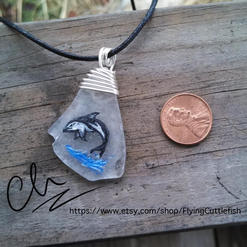 Dusky Dolphin Seaglass Pendant