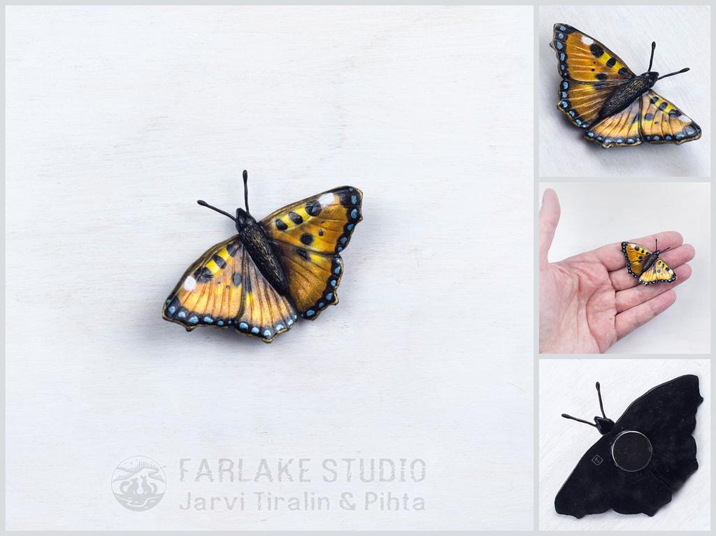 Small tortoiseshell butterfly magnet
