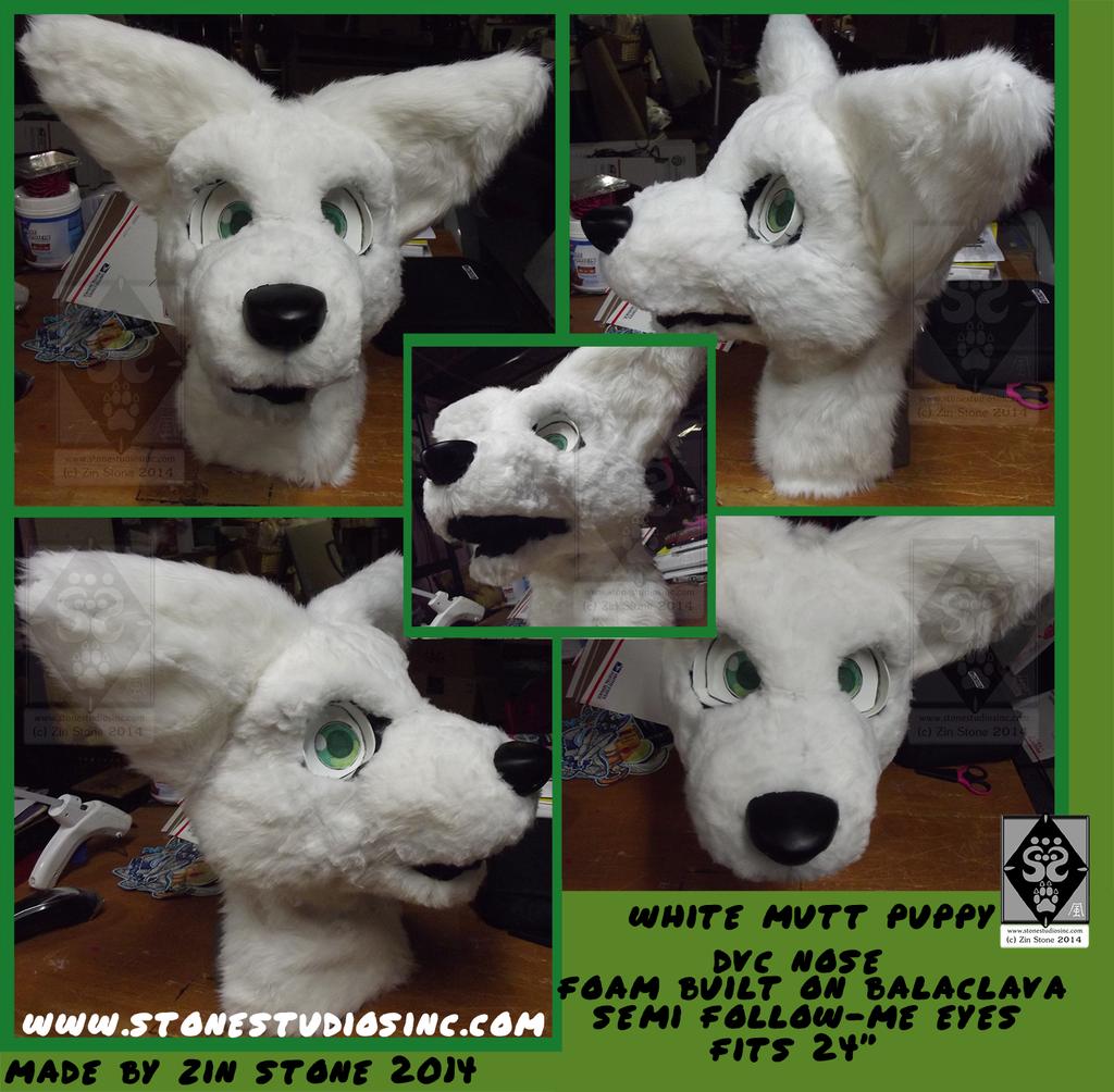 White Puppy Fursuit head - SOLD