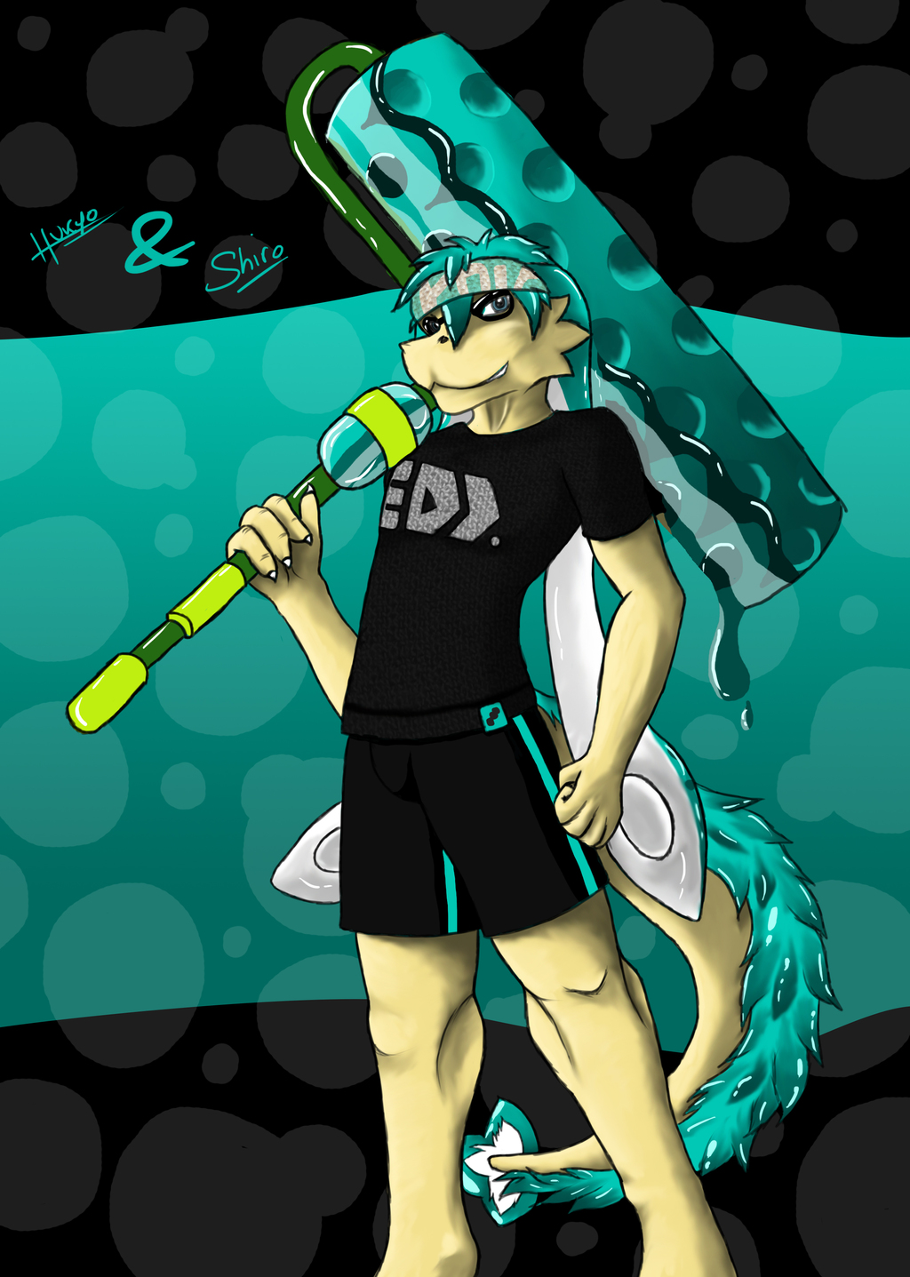 A dragon in Splatoon - Collab with Shiro