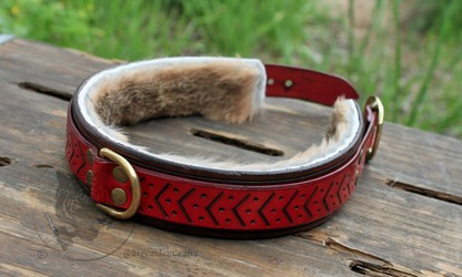 Brown & Red Engraved Collar