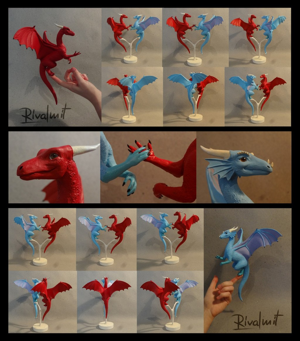 Companions-twin sculptures-dragons