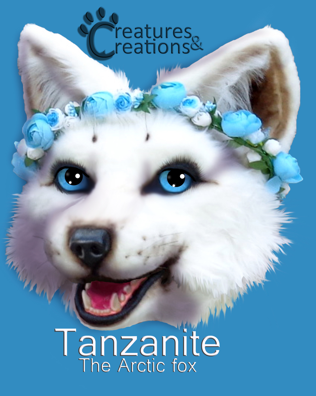 Tanzanite Arctic Fox Head