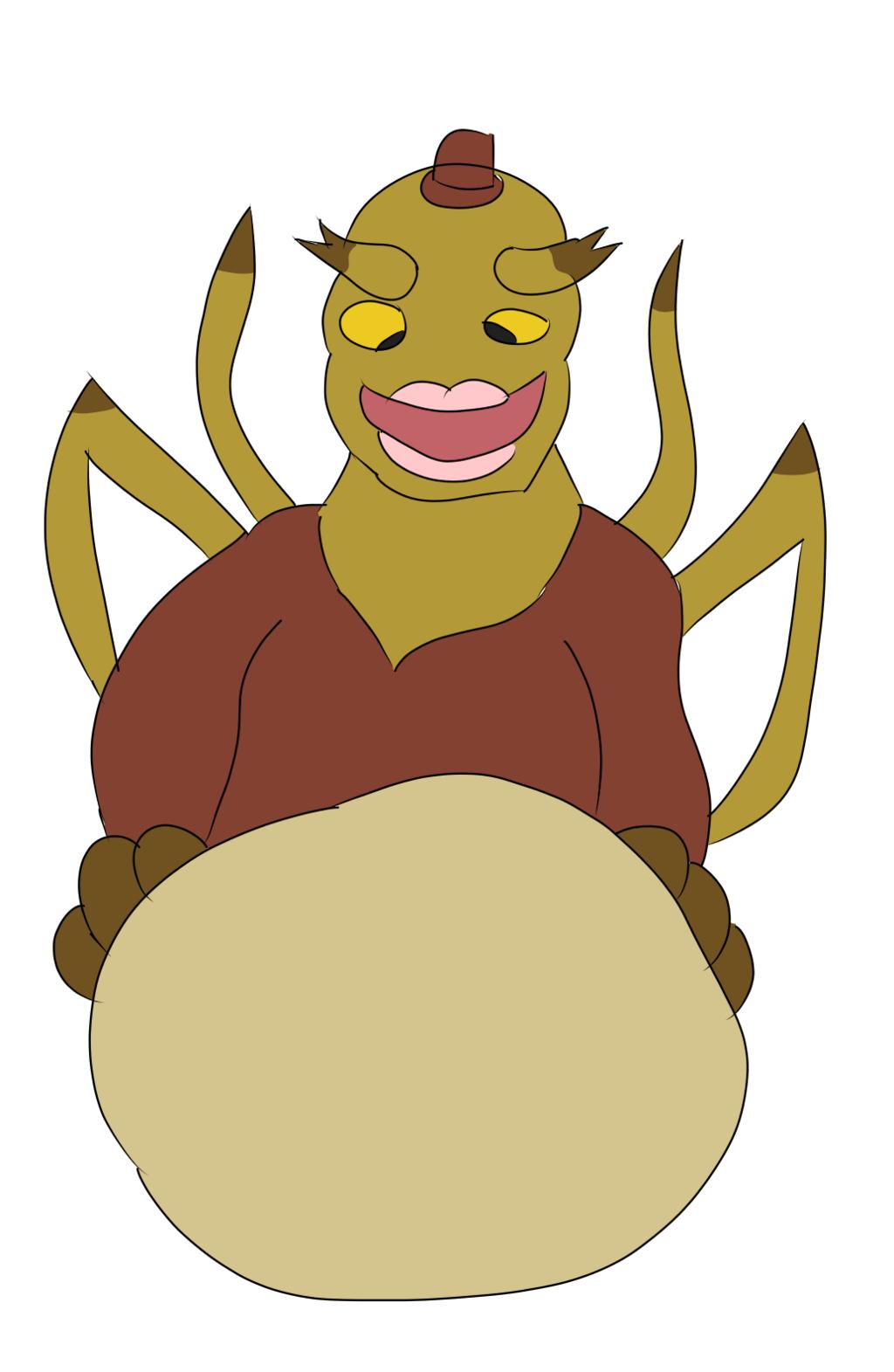 A Veenox 7 alien's big belly, doodled