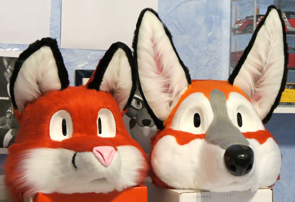 Most recent image: Fursuit heads, old and new
