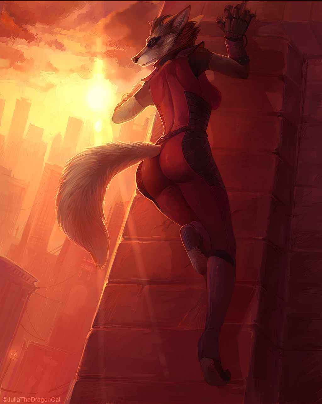 Above the Big City - By Julia the Dragon Cat