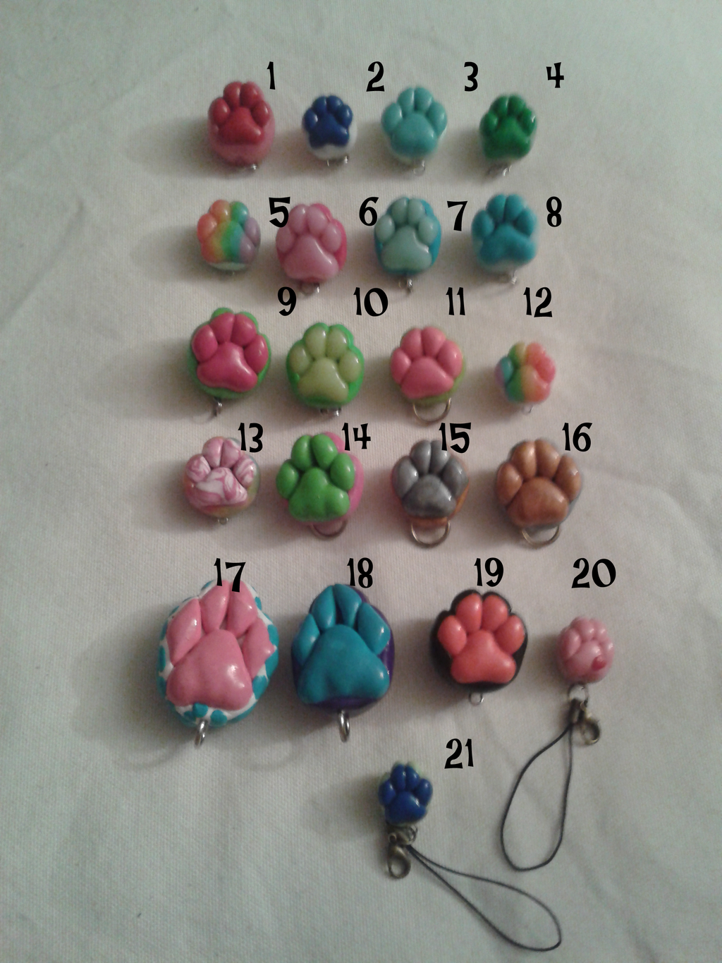 Most recent image: paw charms