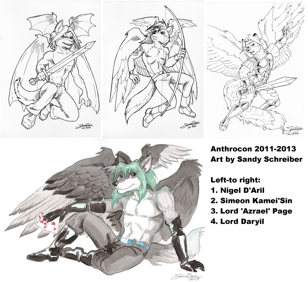 Anthrocon commissions from Sandy Schreiber 2011-2013