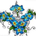 Blue Fire Plumeria Tattoo