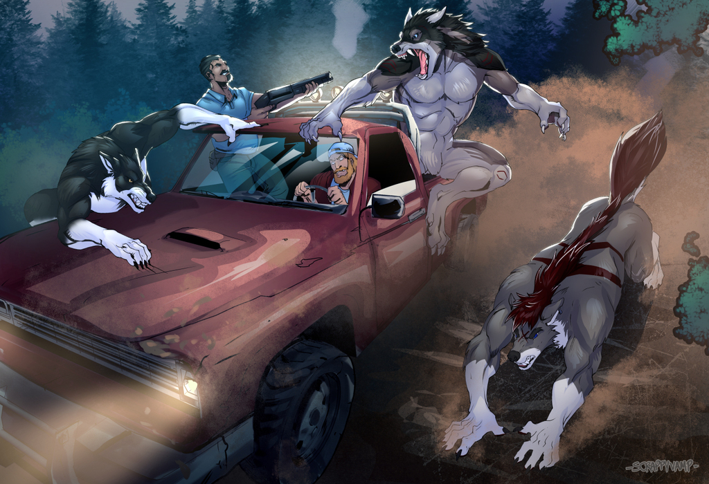 Wolves vs Poachers by ScrappyVamp