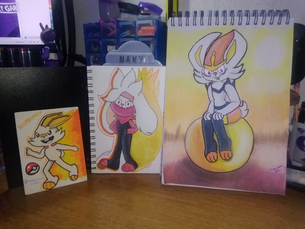 Scorbunny Raboot and Cinderace by MakyGarcia