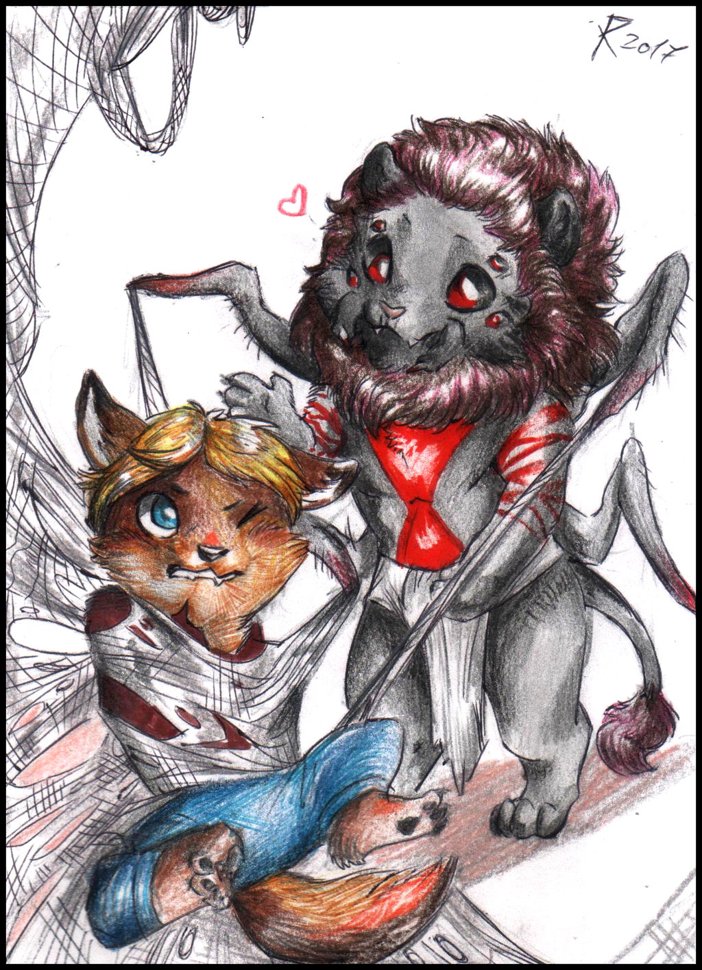 Chibi commission - Spiderlion and Coyote