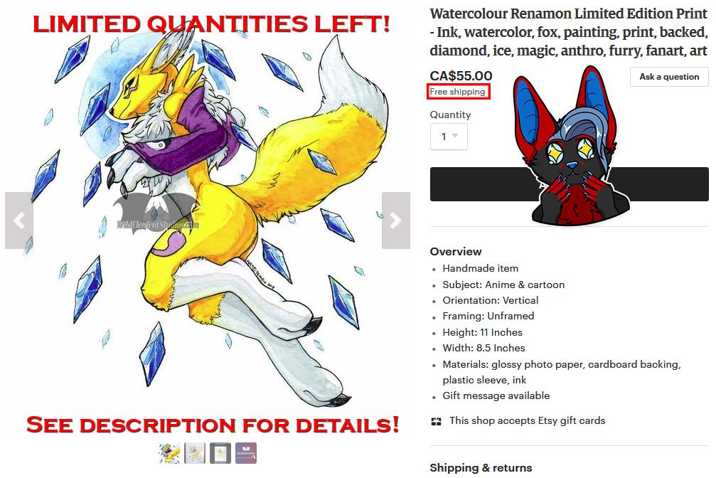 Limited Edition Renamon Print Sale