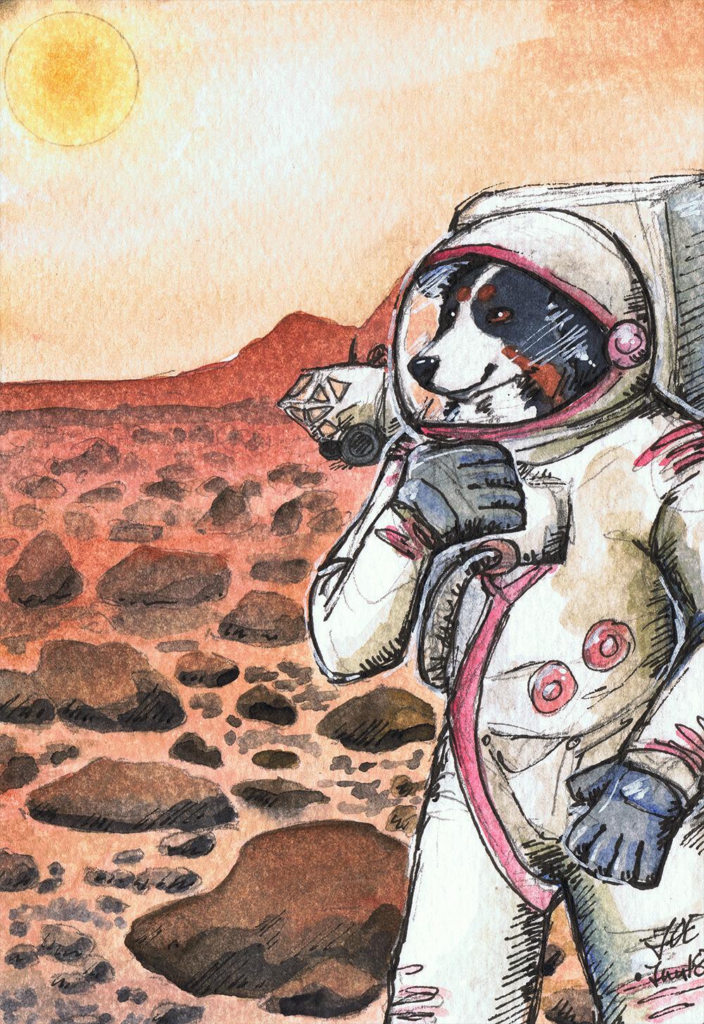 watercolor - CJ's Martian Berni