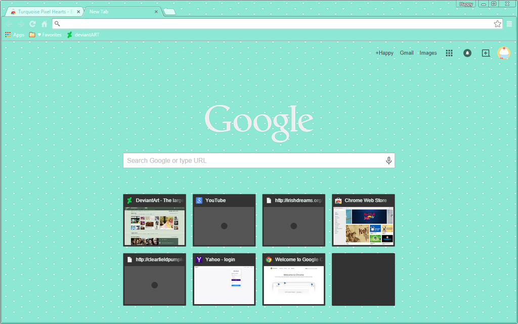Turquoise Pixel Hearts - Google Chrome Theme