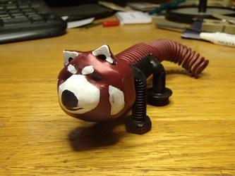 red panda bolt sculpture