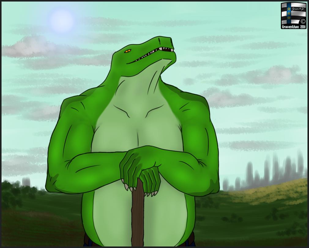 Most recent image: Reptilian farmer