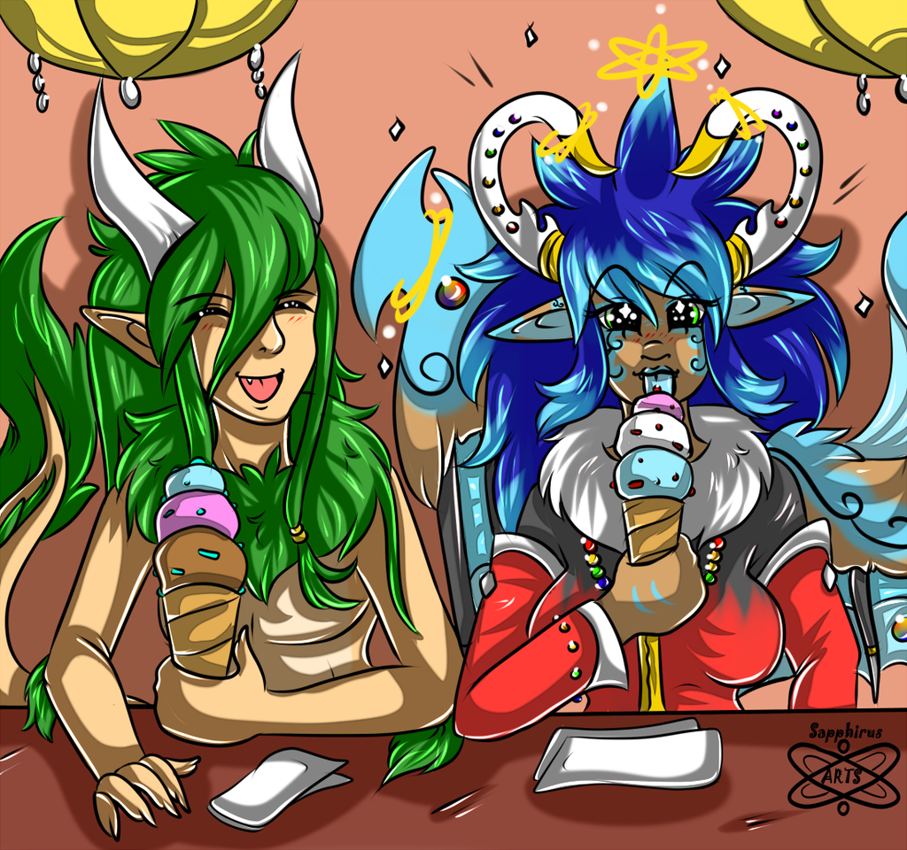 Treating to Icecream +Cellshade Commission+