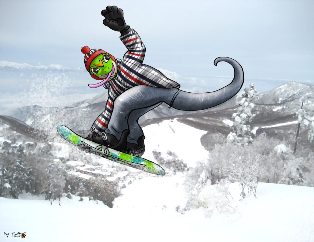 Commission: Snowboarding Ian the Gecko