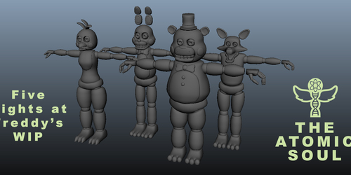 FNAF - the gangs all here 3D WIP