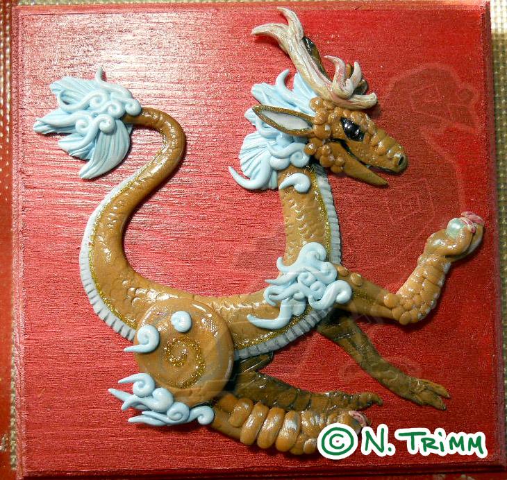 OOAK Gold Dragon Plaque