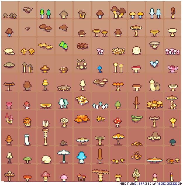 100 Fungi Sprites