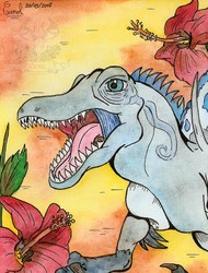 [Spring series #10] Spinosaurus and hibiscus