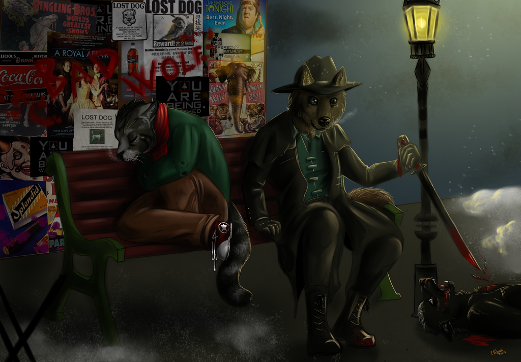 Commission - Two strange brothers and the night