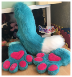 Turquoise Fursuit Handpaws And Tail Set