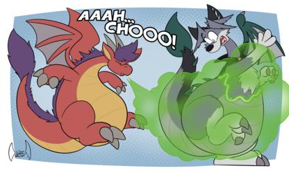 Contagious Toon Dragon Sneeze by Silverdragon
