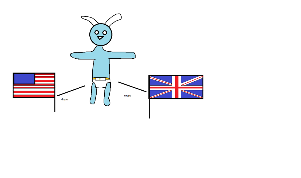 US vs UK on what the baby bunny is wearing