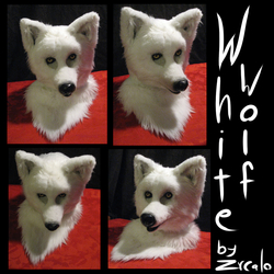 White wolf full fursuit head