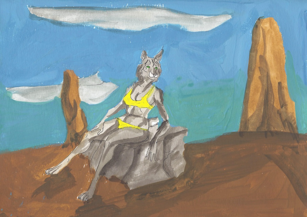 Lynx on a Rock in the Desert