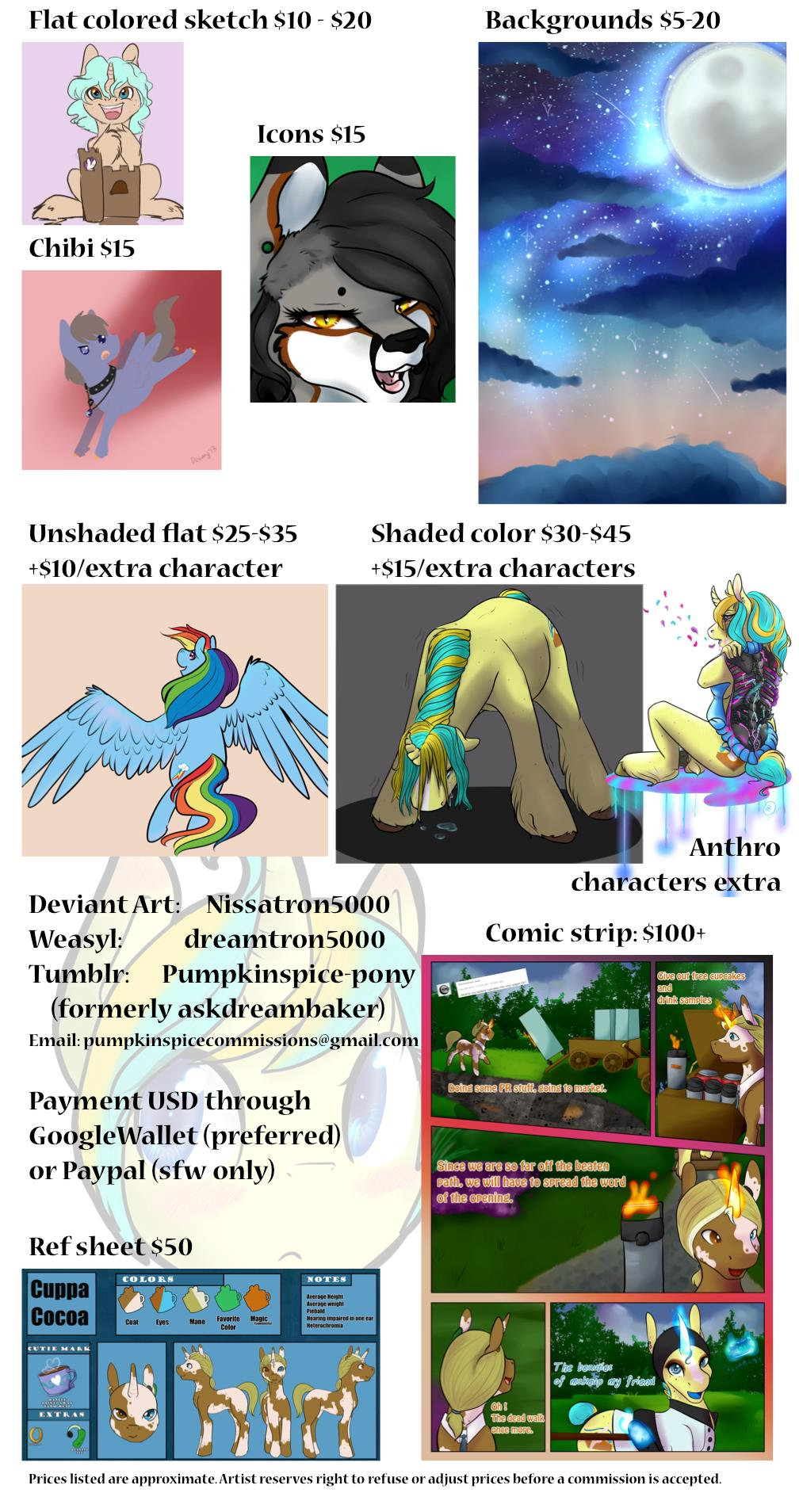 Most recent image: Commission Pricing Sheet