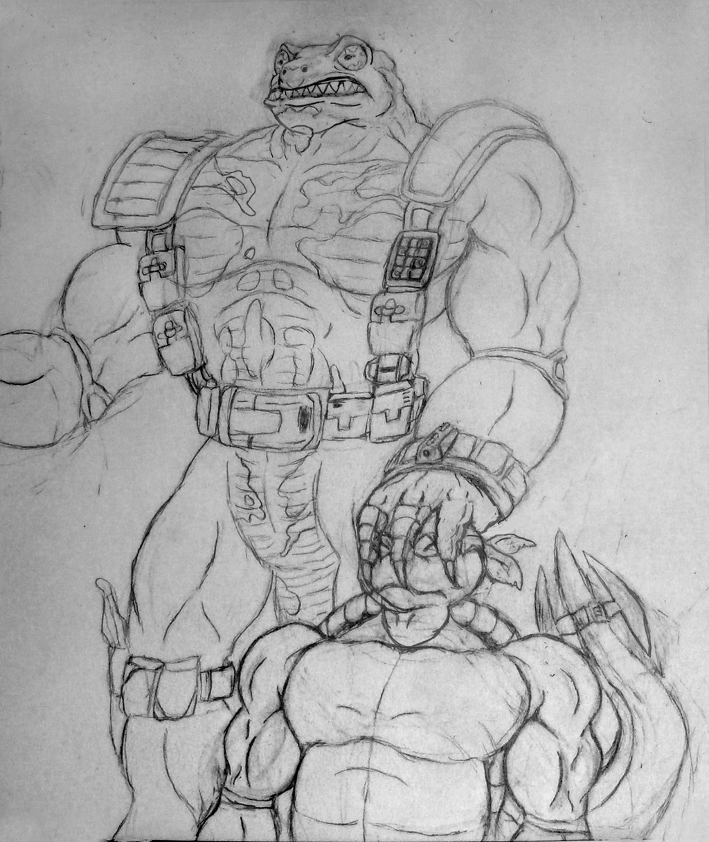 Pencil sketch: Muscle Newtralizer from Ninja Turtles