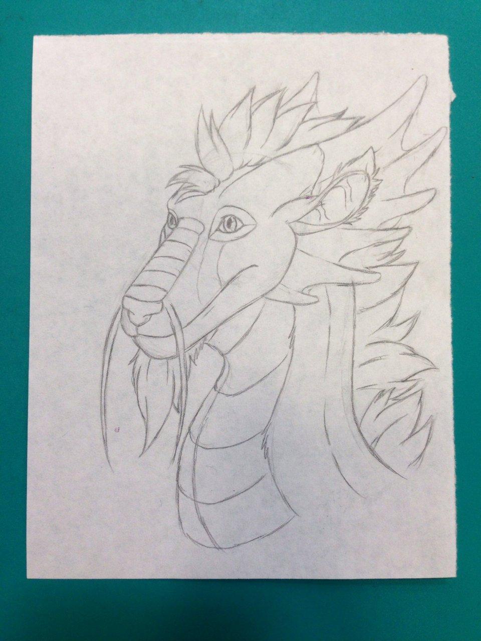 Dragon head: 3/4 view (Pencil)