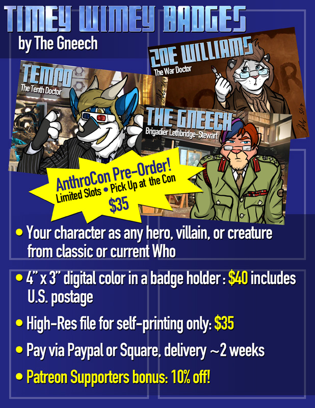 Most recent image: Timey-Wimey Badges- AnthroCon Pre-Orders!