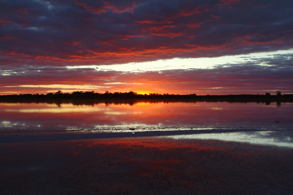 Sunset at Pink Lake