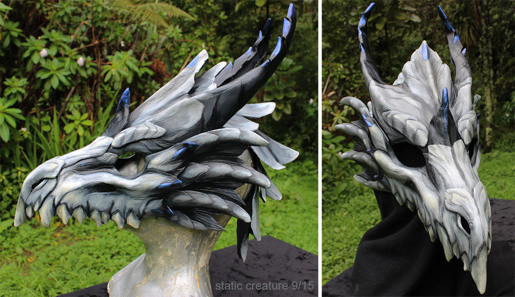 Leather dragon skull mask - for sale