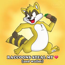 I Heart Raccoons Button